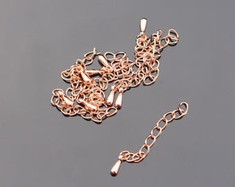 Shiny Rose Gold Tarnish resistant Treated Chain Extender, 10 pc, K615293