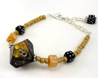 Metallic black and tan D10 beaded dice bracelet