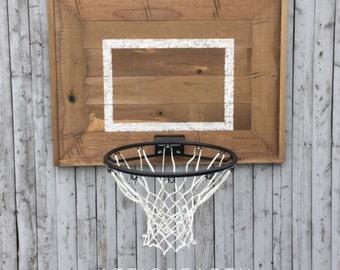 Rustic Wooden Backboard with Basketball Hoop
