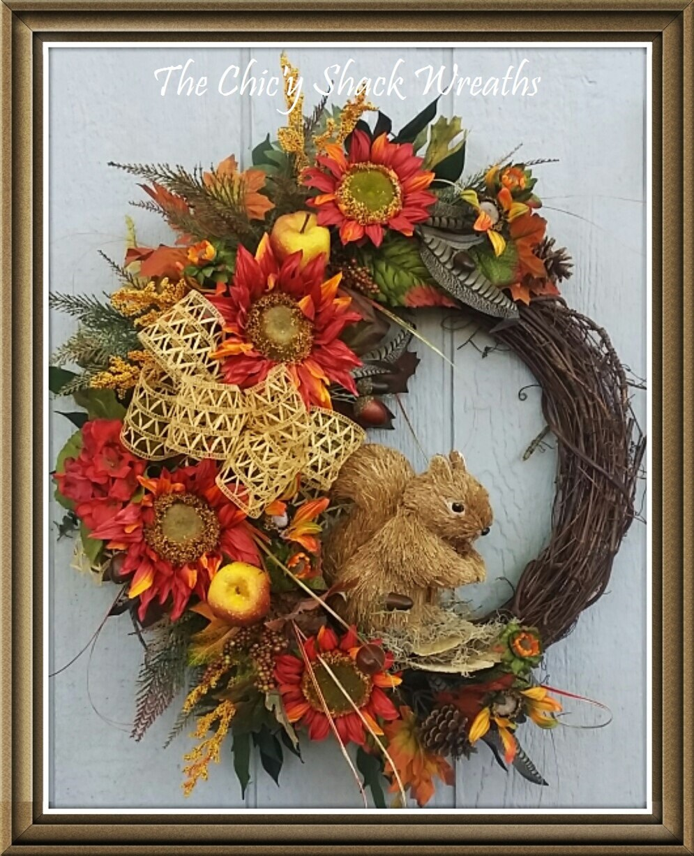 Fall Wreath Grapevine Wreath Wine/Orange Sunflower Wreath