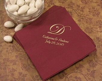 Monogrammed wedding napkins Personalized wedding reception napkins monogram set of 50