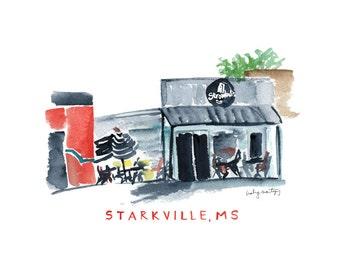 "Stromboli's Starkville Mississippi Restaurant Print | Watercolor Print | 8 x 10"""