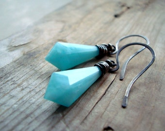 Aqua Dagger Earrings Sterling Wire Wrapped Vinatge Lucite Modern Statement Jewelry Geometric Jewelry Summer Gifts Under 40