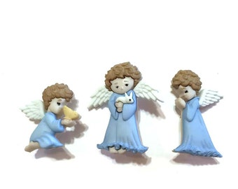 Angel Button Collection Assorted Set of 3 Jesse James Buttons Cherished Angels Dress It Up Buttons Shank Back - H J L - 855 856 857