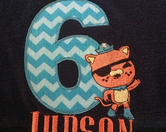 Octonauts embroidered pirate Kwazii with applique number for birthday tee shirt
