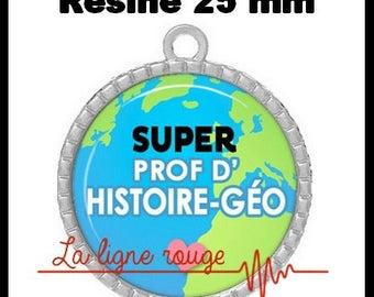Round Cabochon 25 mm epoxy - Super teacher of history geo Pendant (2282) - school, school, college