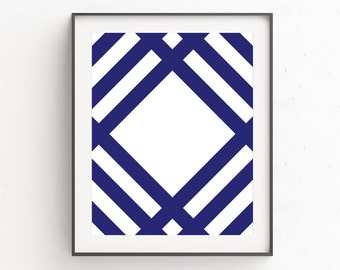 Navy Blue Print Art, Navy Blue Wall Print, Navy Wall Art Prints, Navy oster Art, Winter Wall Print, Geometric Poster Art, Large Poster Art