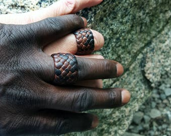 2 Kama Leather Rings, Woman Man Leather Ring, Leather Anniversary, Wedding Bands, Engagement Ring, Boho Gypsy Hippie Tribal, His Hers Couple