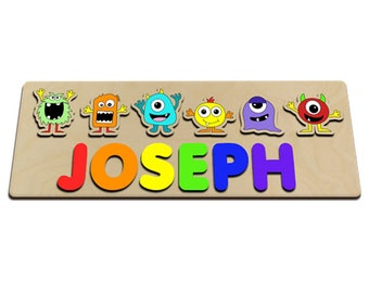Silly Monsters Personalized Wooden Baby Name Puzzle Great For Kids With Long Names Bright Colors Your Child Will Love 590762302