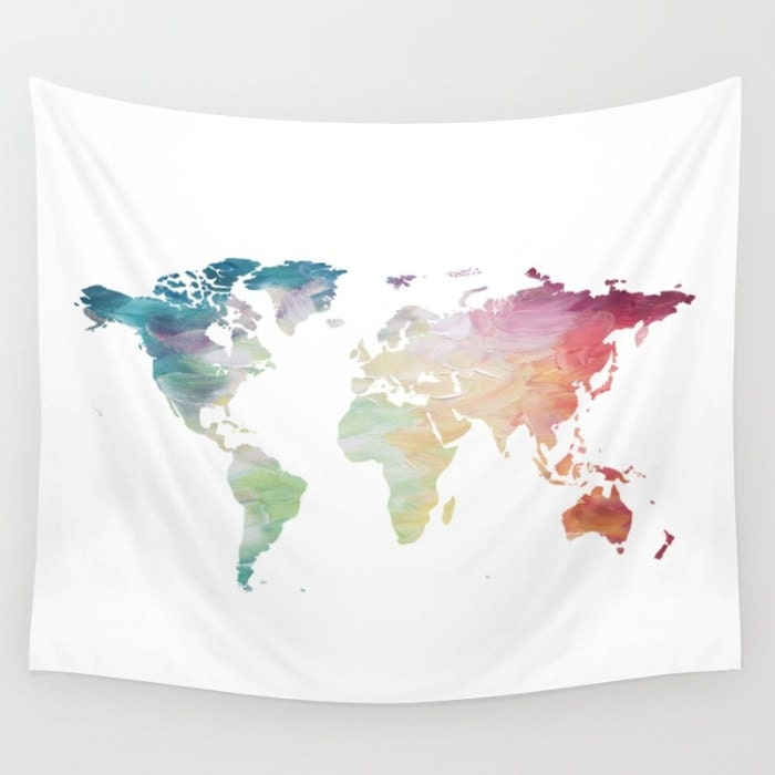 Map tapestry rainbow tapestry world map wall hanging globe zoom gumiabroncs Gallery