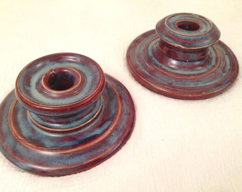 Art Pottery CANDLE HOLDERS Purple / Blue Glaze Studio Thrown Handmade Pair