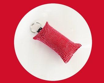 Polka dot red fabric key fob