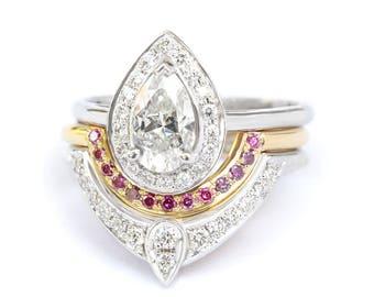 3rd Eye Trio Diamond Wedding Engagement Rings Set, Unique Engagement Rings Set, Elegant Diamond Ring, Diamond Wedding Ring