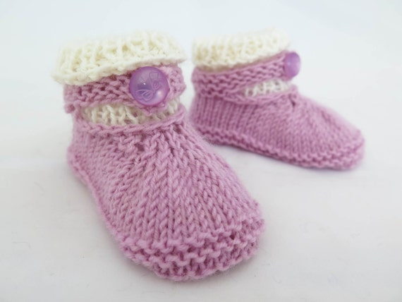 Knitting Pattern Pdf Baby Girl Slippers Handknit Booties Cute