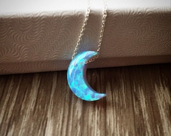 Opal moon necklace; lab opal crescent moon necklace