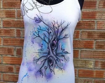 Handmade, hand painted tank top surreal tree eyes design