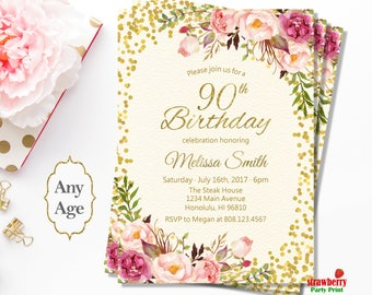 90th birthday invitations etsy 90th birthday invitations for women floral birthday invitation gold foil cheers to 90 years a36 filmwisefo