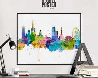 Chicago art print, Chicago poster, Chicago skyline watercolour print, Chicago wall art, travel poster, home decor, gift, iPrintPoster