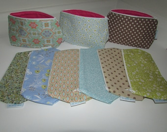 Cosmetic bags in various colours
