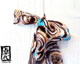 Silk Scarf Hand Painted, Blue, Brown, Brown Roses Scarf, Small Neck Scarf, Blue Scarf Ring, Handmade Christmas Gift, Takuyo, 6x24 inches
