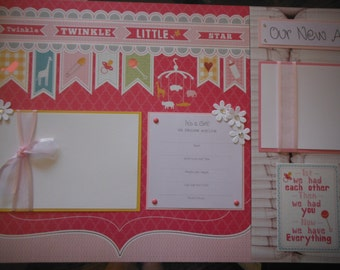 Our Sweet Girl 20 Premade 12x12  Scrapbook Pages Great New Gift for Mom or Grandma Baby Girl