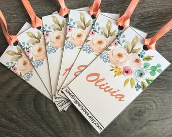 Customized Name Tags 1.25 each (must be purchased our bridesmaid robes at the same time) ex: floral robes bridesmaid robes