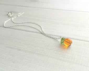 Orange Necklace - fruit pendant w/ green leaf - small juicy glass translucent fun unique summer fruit - Florida - little simple silver chain