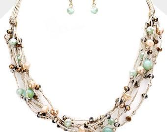 Multi Strand Multi Bead Bib Necklace Mint