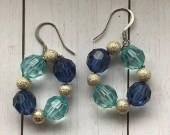 Blue Beaded Earrings, Statement Earrings, Bold Earrings, Beaded hoop, Gift for her, Chunky Bold Earrings, Dangle earrings, Mothers Day