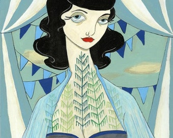 It caused in my heart a forest vintage inspired carnival blue bunting print by Amanda Atkins