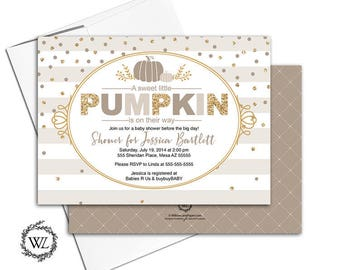 Fall baby shower invitations neutral baby shower invite, gender neutral shower invitation, taupe, beige, gold, printable printed - WLP00755
