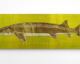 Gift for Men, Dad Gifts, Lake Sturgeon Art Block, Lake House Art, Lake Sturgeon Print, Fishing Presents For Fishermen, Gifts for a Fisherman