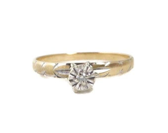 Diamond Engagement Ring, 10K Yellow Gold, Solitaire Diamond .03ctw, Women's Ring Size 10