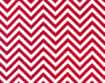 "End of Bolt- 18""x44"" Red Skinny FLANNEL REMIX Chevron From Robert Kaufman"