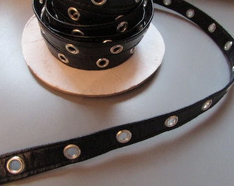 Black Pleather 1cm (half inch) eyelet tape x 1 metre