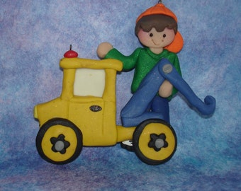 Wrecker Tow Truck Christmas Ornament Driver Polymer Clay Milestone Cake Topper Automotive Garage Vehicle Mechanic 1st