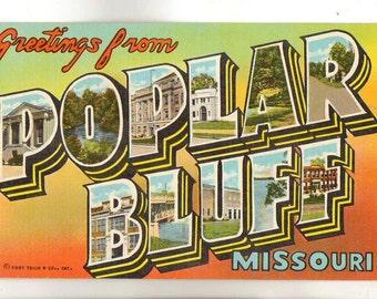Linen postcard greetings from north dakota sheyenne river large linen postcard greetings from poplar bluff missouri black river large letter m4hsunfo