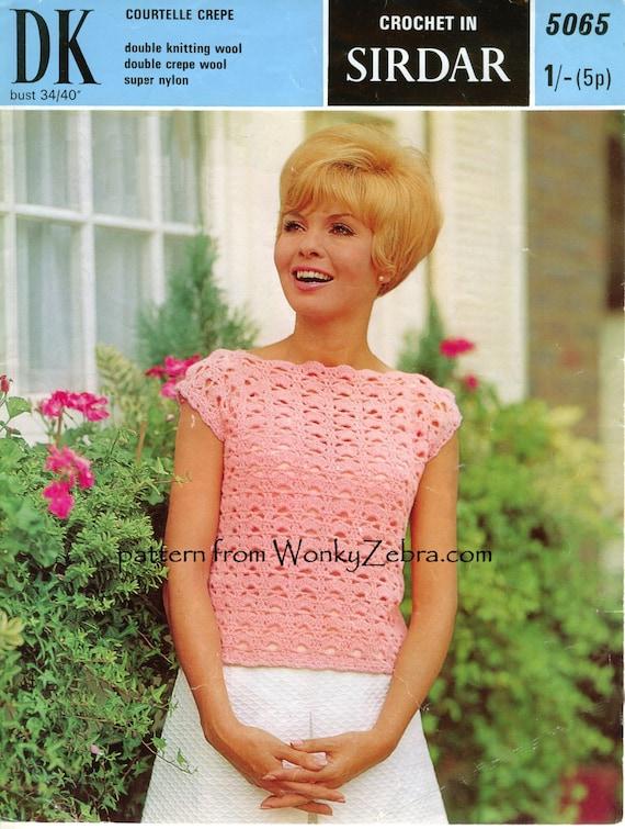 Vintage Crochet patrón superior PDF 713 de WonkyZebra
