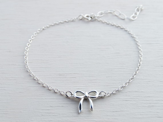 Tiny Silver Bow Bracelet, Sterling Silver