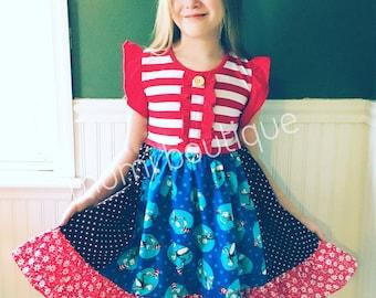 Dr. Seuss Cat in the Hat Read Across America Back to school girls toddler dress Momi boutique custom dress