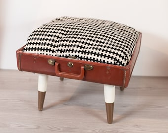 Suitcase Pet Bed for a Dog or Cat - Upcycled Footstool - Repurposed Brown Vintage Suitcase -  Dipped mid Century Legs