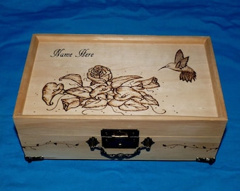 Personalized Wood Burned Jewelry Box Wooden Jewelry Holder