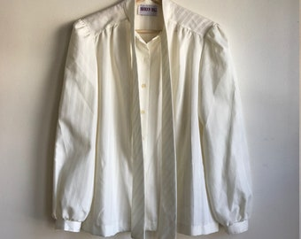 1980s White Long Sleeve Tie Neck Blouse Women's Size Medium