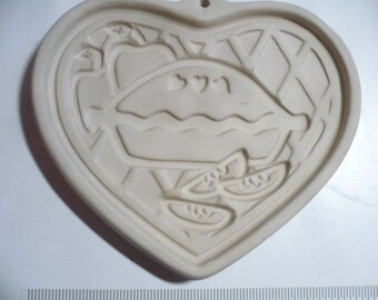 Pampered Chef Stoneware Heart Cookie Molds, Welcome Home Heart 1998, Baking mold, Baked goods, Heart, Vintage Pampered Chef, Decorative Mold