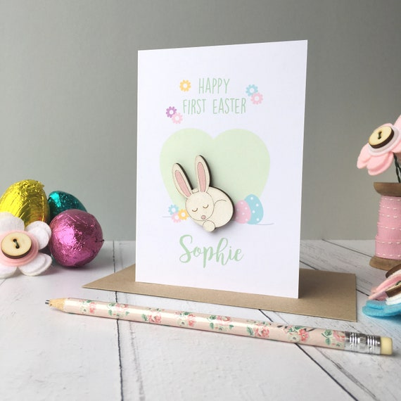 Baby's First Easter card - bunny card - baby card - Easter card