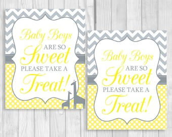 SALE Baby Boys Are So Sweet Please Take A Treat 8x10 Printable Baby Shower Dessert Sign Yellow Chevron Gray Polka Dots - Giraffes Optional