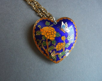 Vintage two sided cloisonne pendant, two sided cloisonne, two sided cloisonne necklace, large cloisonne pendant, chinese export necklace