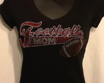 Football Mom Rhinestone BLING Fitted Baby Doll Tee S-3XL NWOT