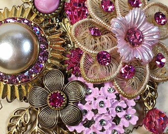 Priscilla Pretty in Pink vintage collage brooch assembly upcycled rhinestone flowers pin jewelry Mother's Day