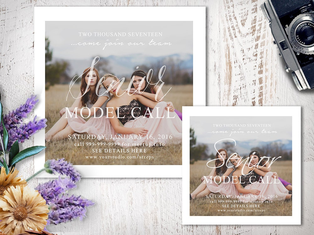 Senior Model Call Photography Template Photoshop Marketing